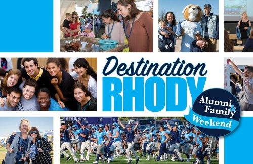 Students, alumni, football game images promoting 2018 Alumni & Family Weekend