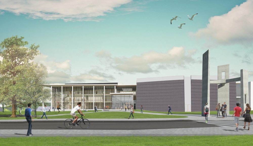rendering of the south entrance to the Fine Arts Center