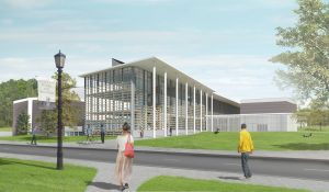 rendering of the west corner of the Fine Arts Center