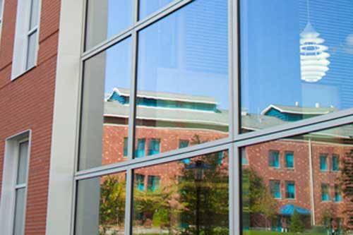 campus building reflection