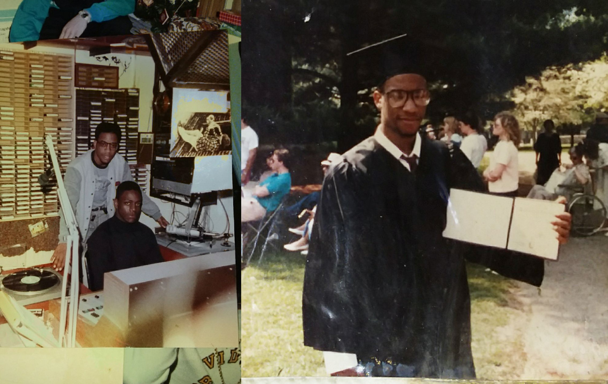 """Duval """"Masta Ace"""" Clear '88 as a student in the WRIU studio and at commencement"""