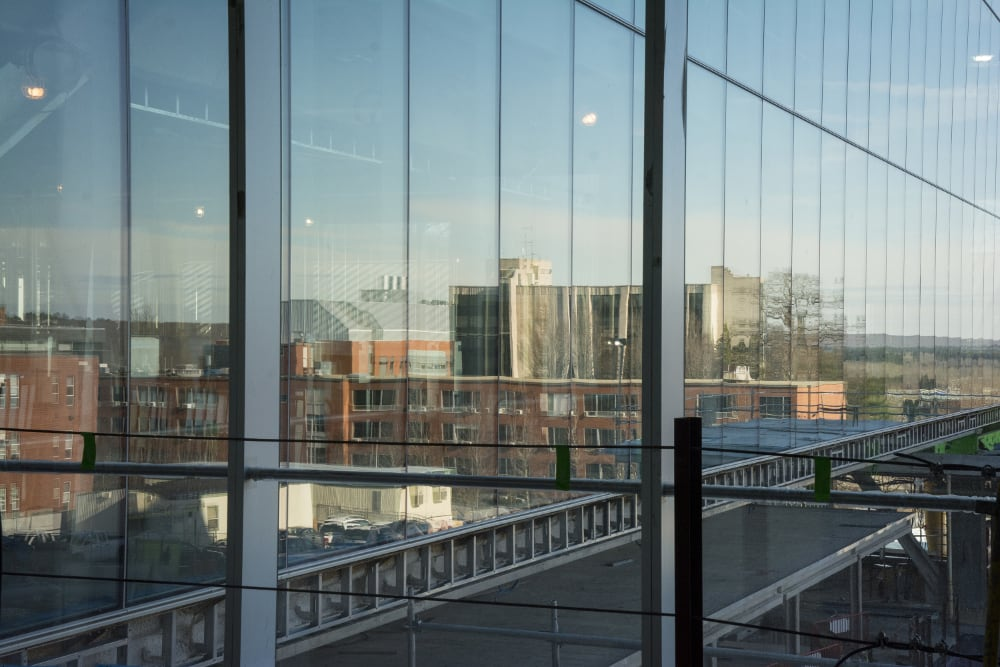 URI buildings reflected in the engineering complex's glass panels