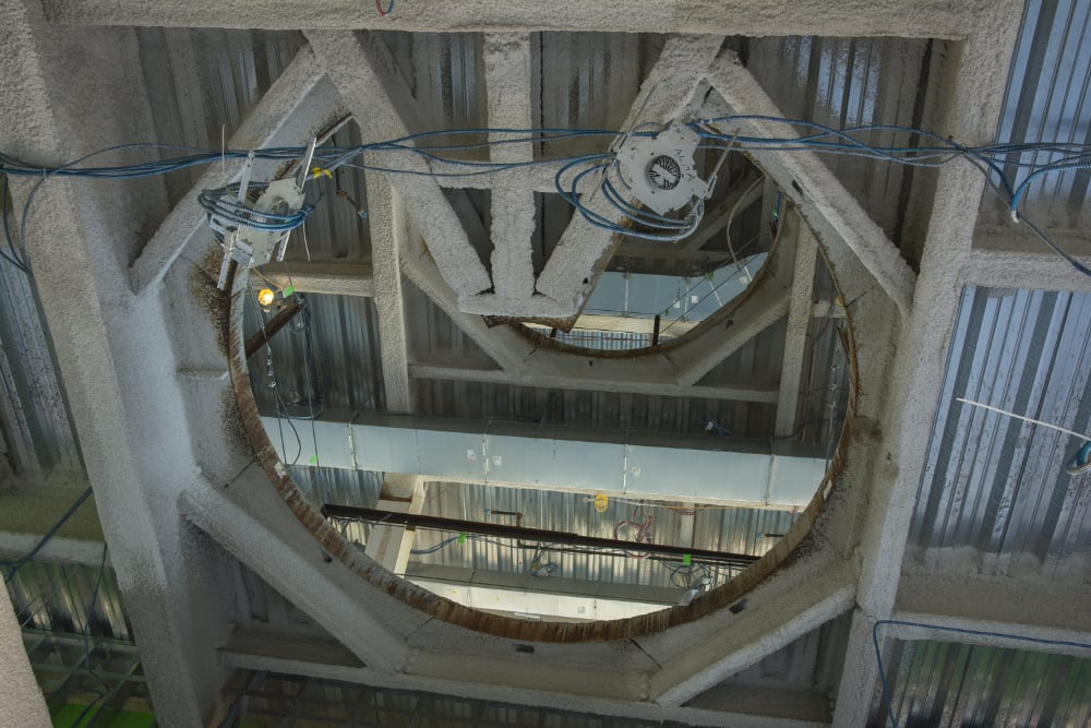 construction photo of the portal that will house a great spiral staircase