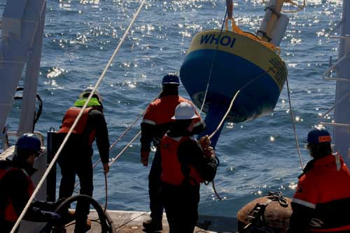 Ocean engineering student deploying buoy