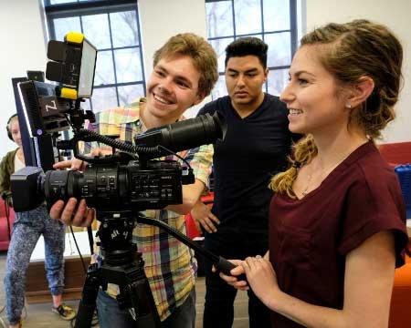 student filmmakers at the Harrington School