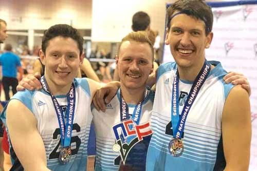 URI volleyball players after winning national championship