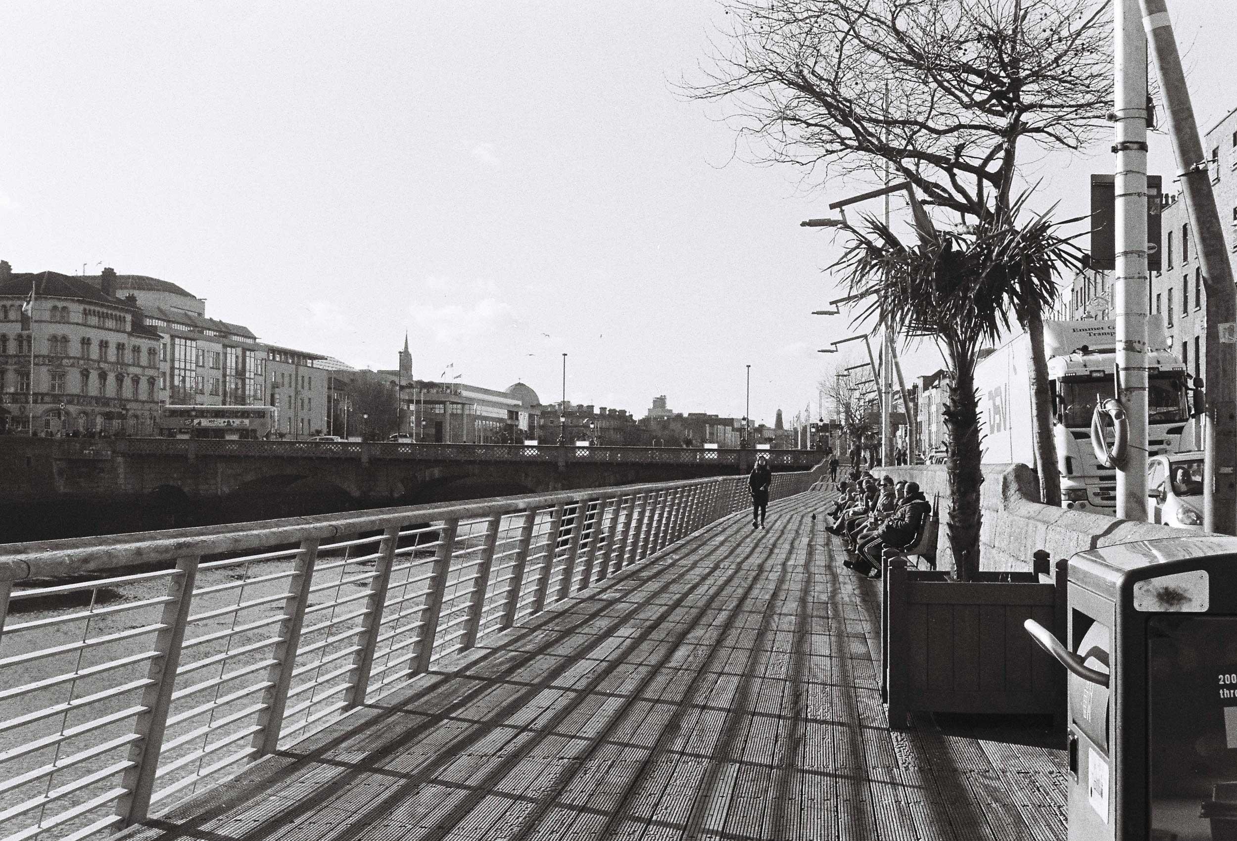 boardwalk along the Liffey River in Dublin
