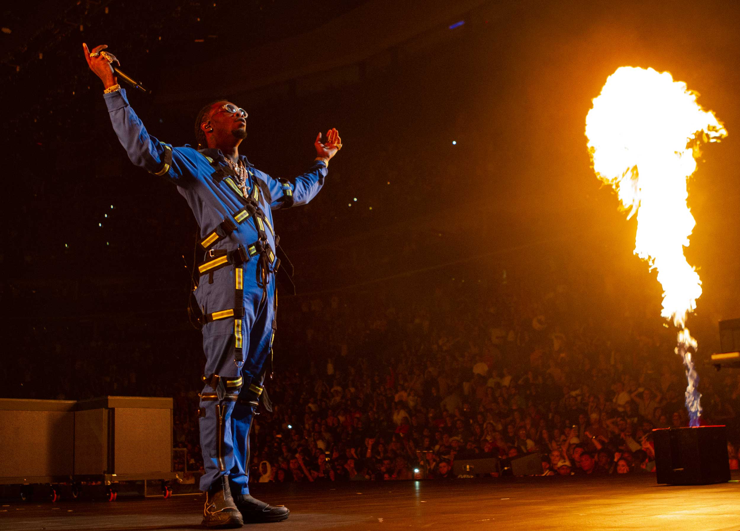Offset on stage with fire
