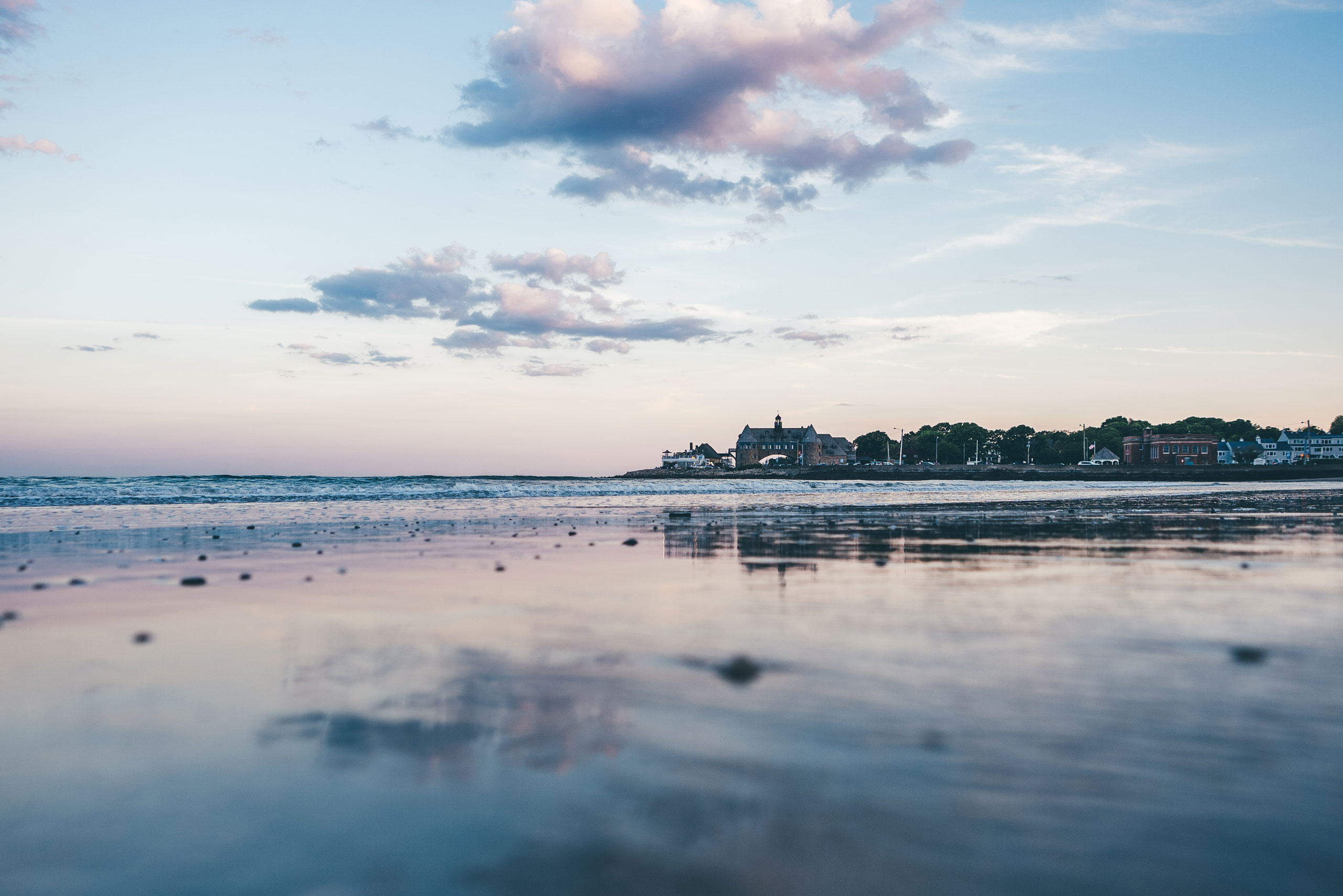 Low tide at Narragansett Beach with a view of the Towers