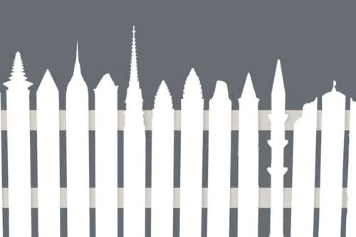 picket fence design used for Religion in America series with the pickets representing different faiths