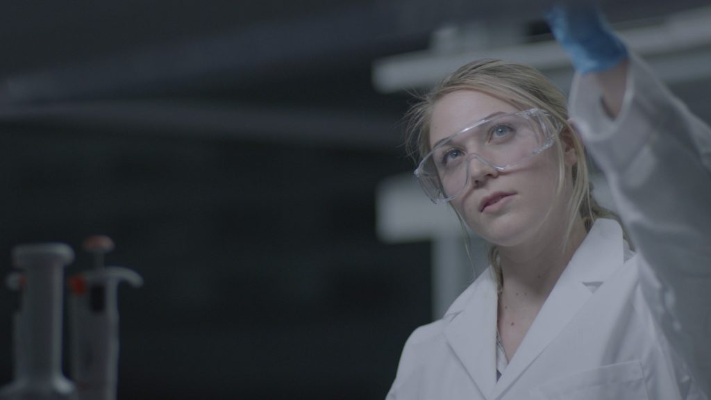 Marisa Pfhol works in the lab
