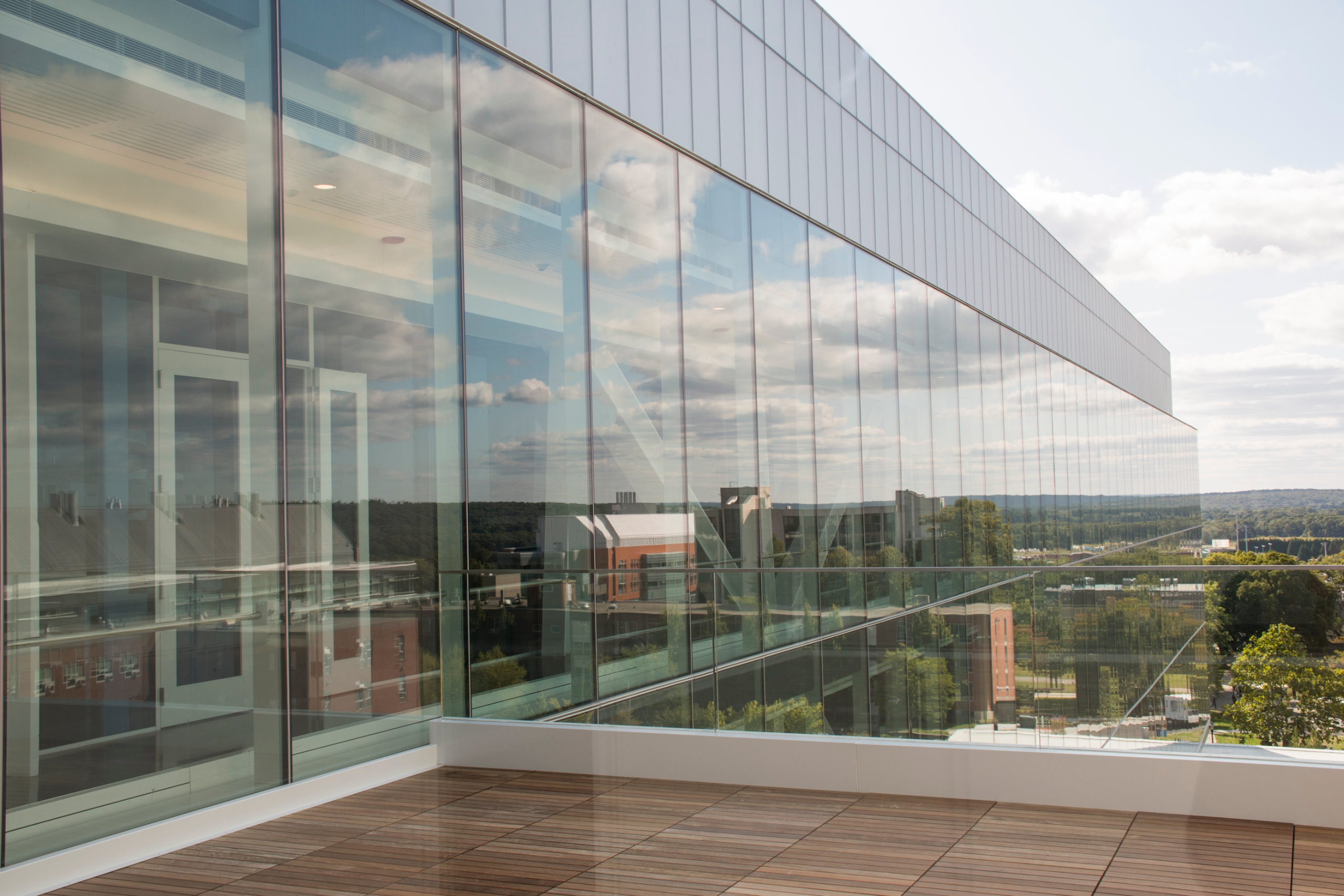 A view from the fourth floor patio of the Fascitelli Center for Advanced Engineering