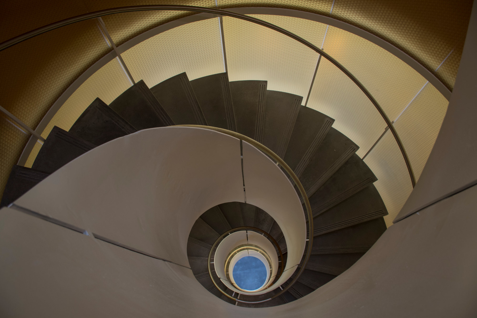 A view of the spiral staircase.