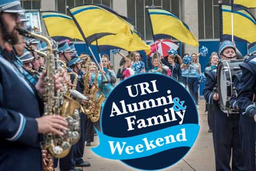 Alumni and Family Weekend logo with URI marching band