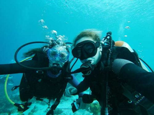 Students diving in Bonaire for Term