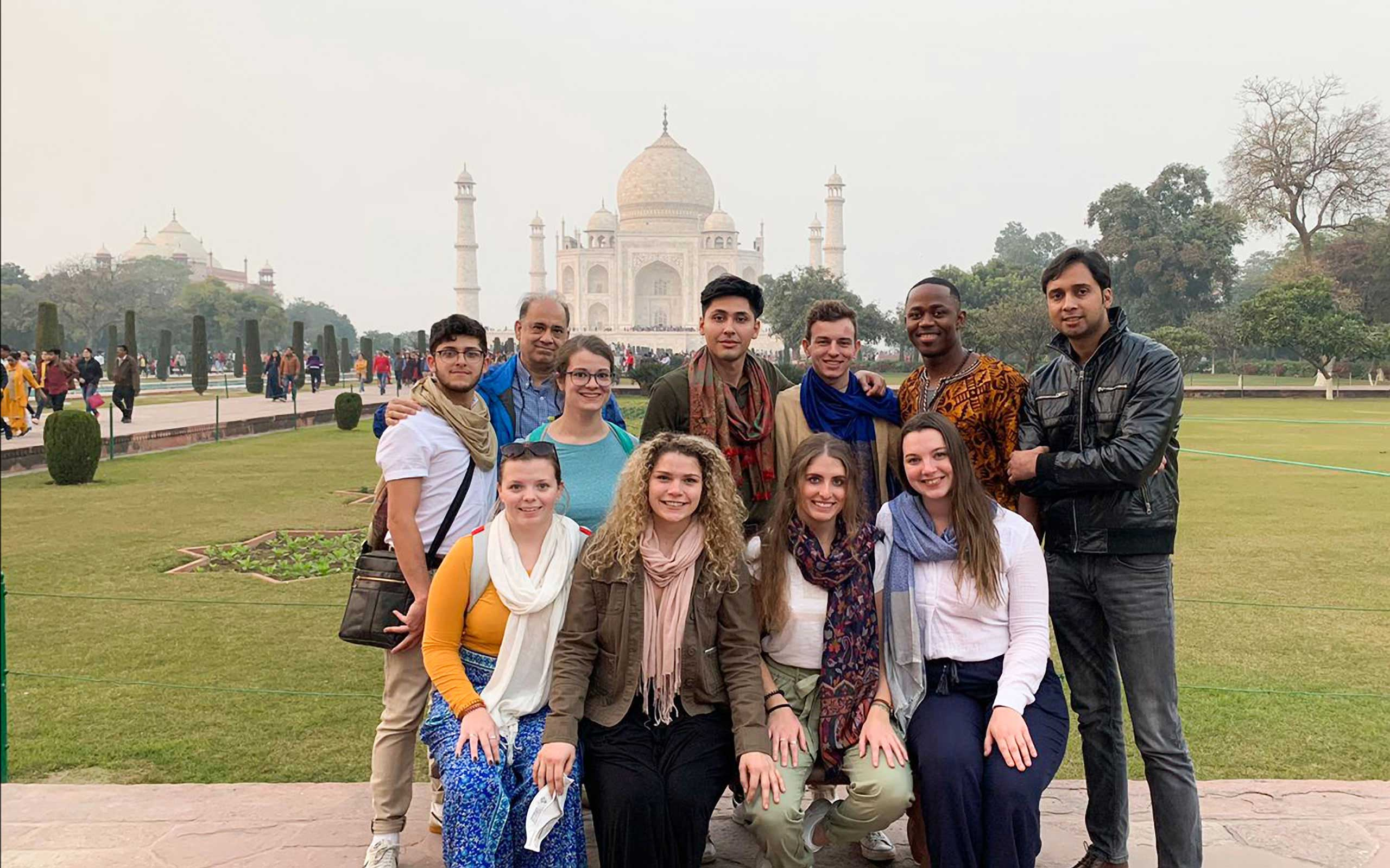 J Term 2020 Engineering students in front of TajMahal