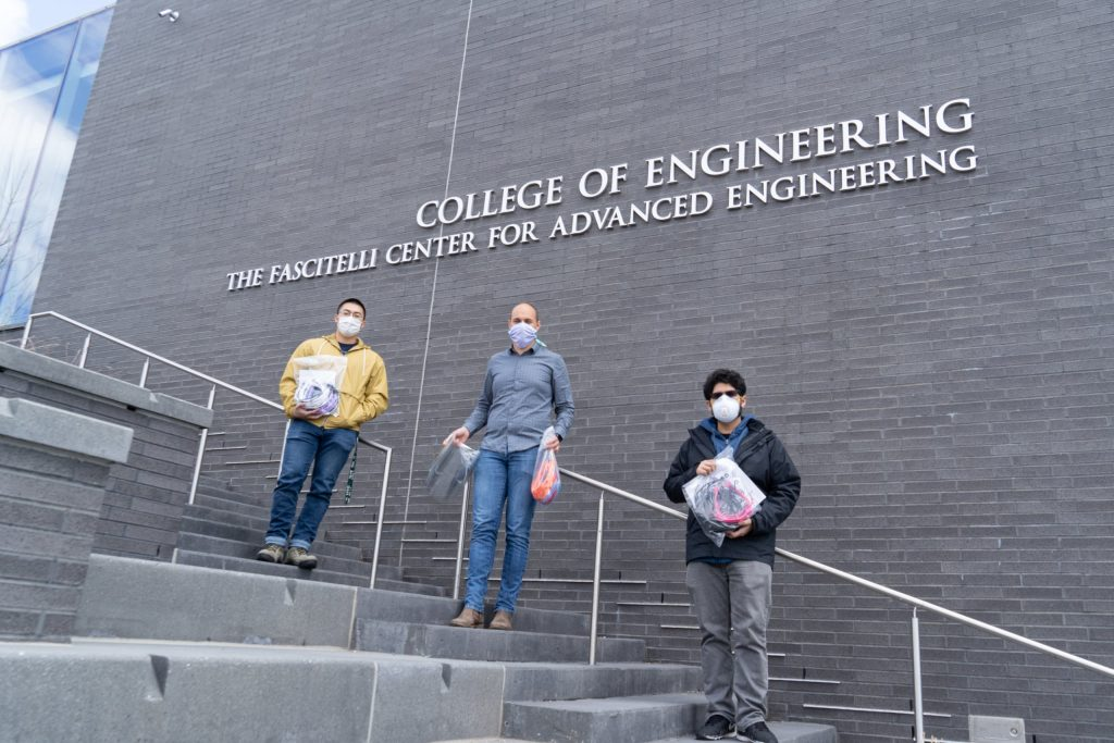 Victor Chung '20, Dominik Brysch '20, and Joseph Reyes '20 on the Fascitelli Center stairs