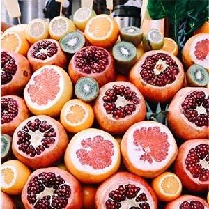 pomegranates, oranges, kiwis