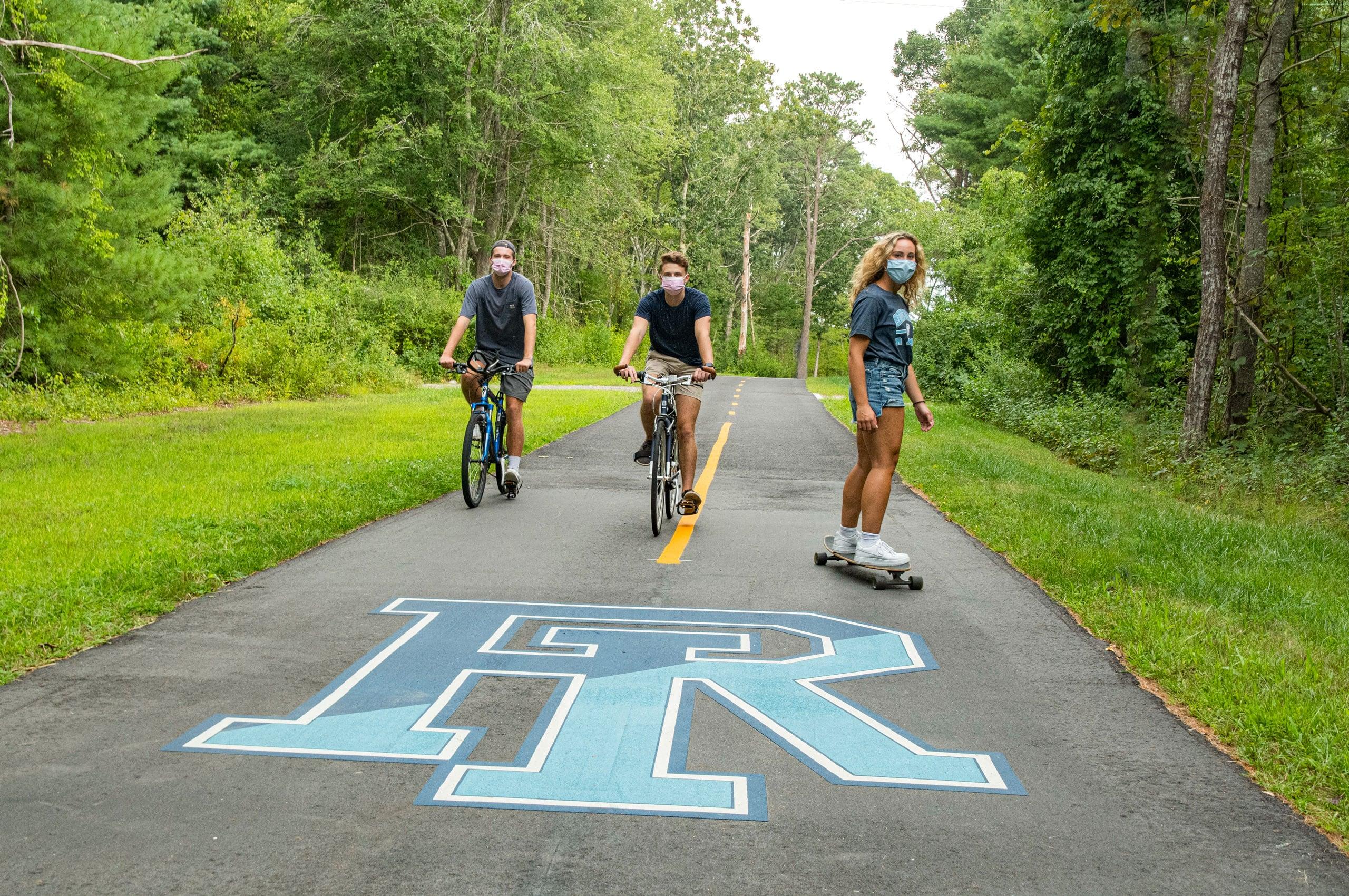 Students on the URI bike path