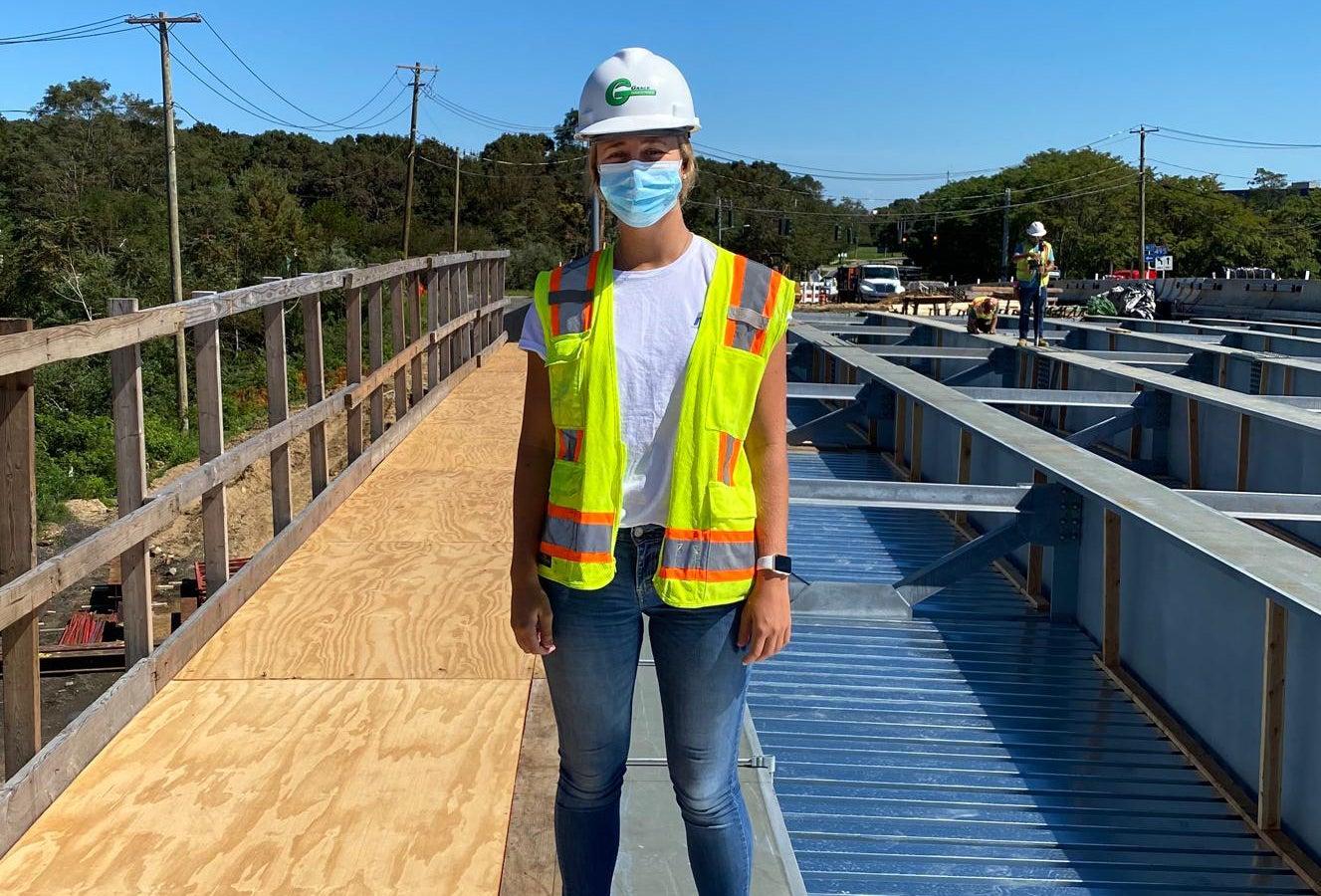 Engineering major Natalie Wilcox on Walt Whitman Bridge