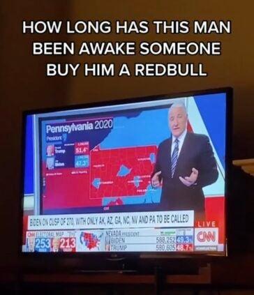A John King meme: How long has this man been awake? Someone buy him a RedBull
