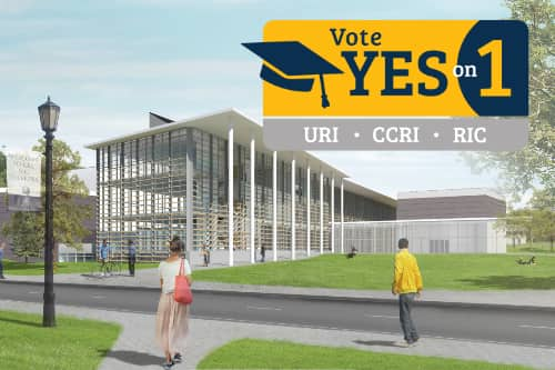 A rendering of the Fine Arts Center west corner