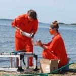 Cara Megill and Jacqui Roush tracking micro plastics in Narragansett Bay