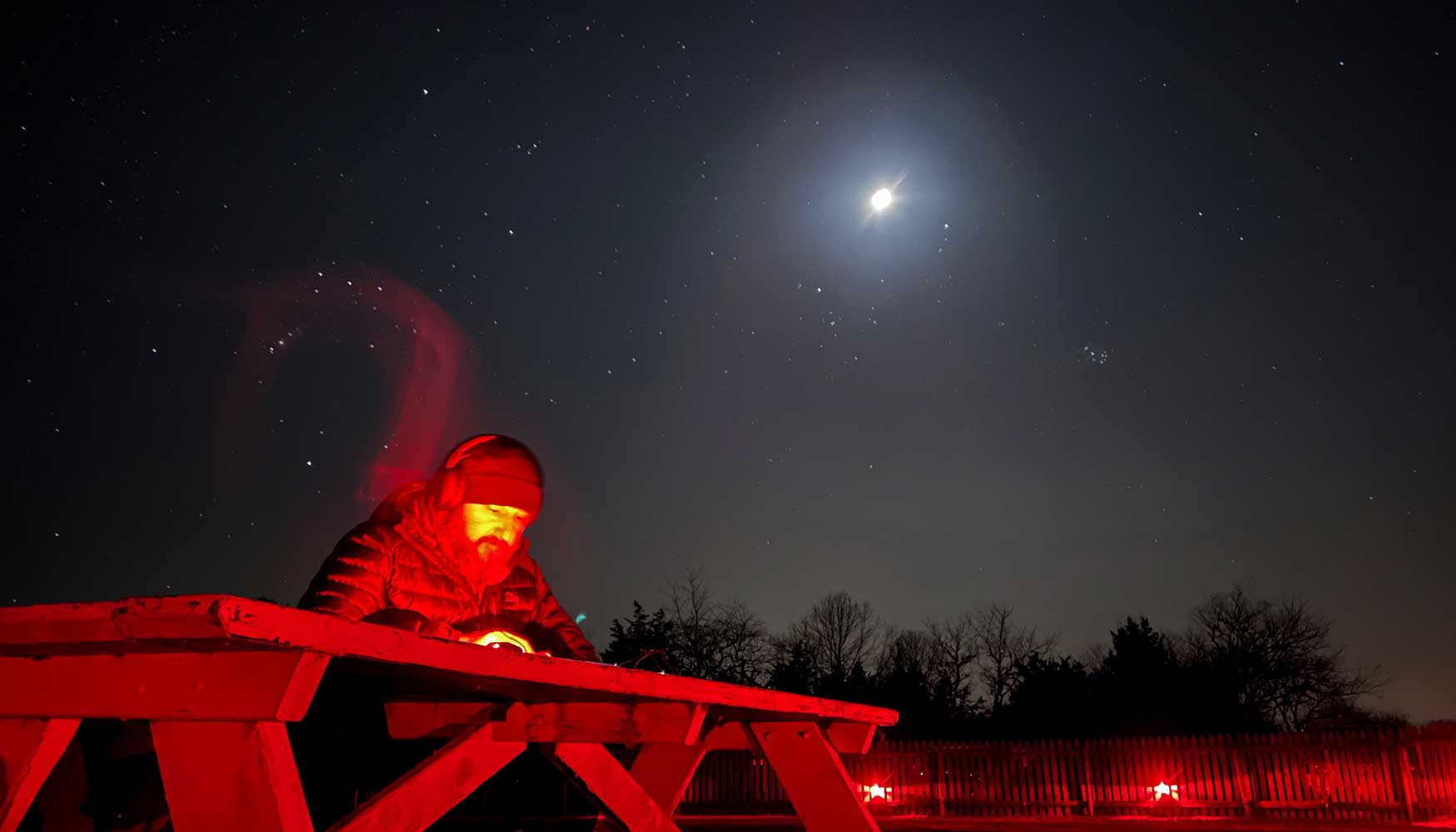 """Night photo at Frosty Drew Observatory of research for the """"79 Moons of Jupiter"""" project"""