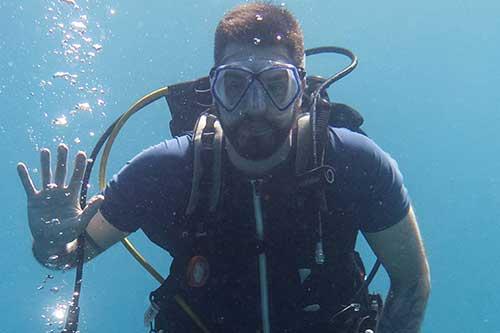 Professor Christopher Lane exploring undersea