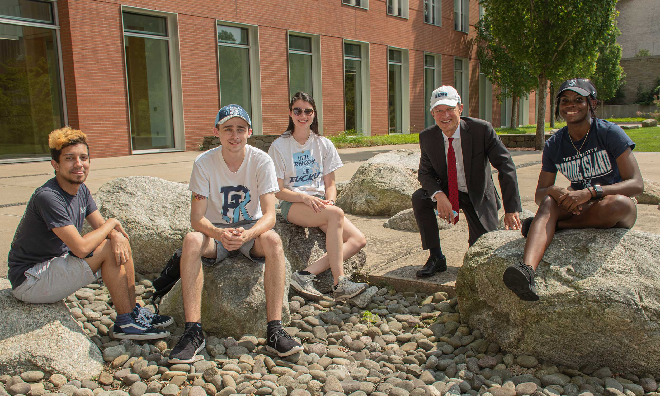 A group of 2021 RAs with President Parlange outside the CBLS building
